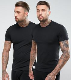 2 черные футболки с круглым вырезом Calvin Klein - Черный