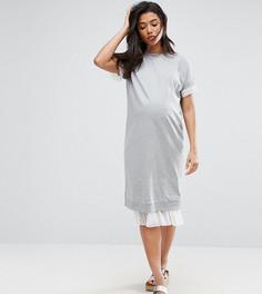 Трикотажное платье с сетчатой вставкой ASOS Maternity - Серый