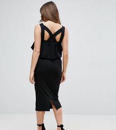 Платье миди с квадратным вырезом, оборкой и перекрестными бретелями на спине ASOS Maternity PETITE - Черный
