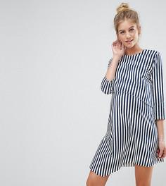Асимметричное двухслойное платье в полоску с рукавами 3/4 ASOS Maternity NURSING - Темно-синий