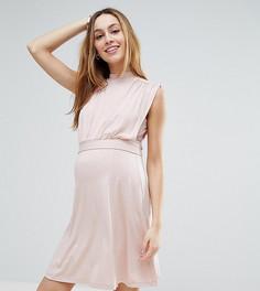 Платье мини с высоким воротом для кормящих мам ASOS Maternity PETITE - Розовый