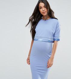 Двухслойное платье с атласной отделкой ASOS Maternity PETITE - Синий