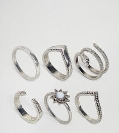 Набор из 6 серебристых колец ASOS CURVE - Серебряный
