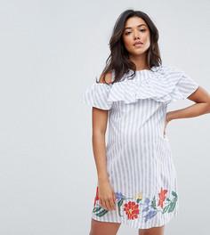 Платье в полоску с вышивкой на подоле ASOS Maternity - Синий