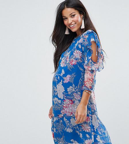 Синее платье с оборками и цветочным принтом ASOS Maternity - Синий