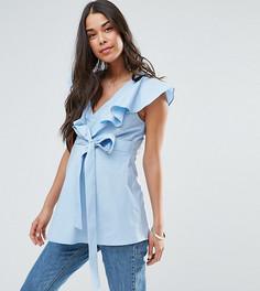 Хлопковая блузка с оборкой и поясом ASOS Maternity - Синий