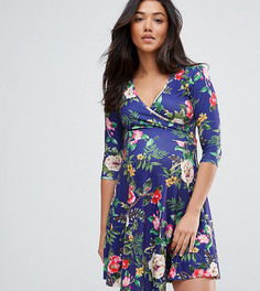 Темно-синее короткое приталенное платье с запахом и цветочным принтом ASOS Maternity NURSING - Темно-синий