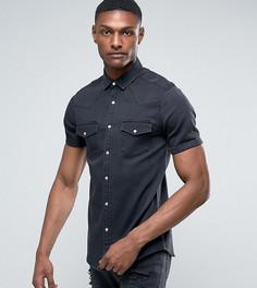 Эластичная узкая джинсовая рубашка с выбеленной отделкой ASOS TALL - Черный