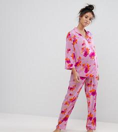 Пижамный комплект из рубашки и брюк с ярким цветочным принтом ASOS Maternity - Мульти