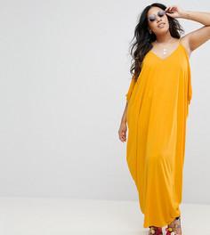 Платье макси с драпировкой ASOS CURVE - Желтый