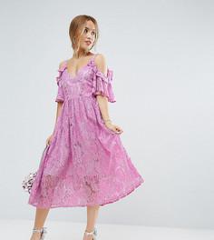 Розовое кружевное платье миди ASOS PETITE - Розовый