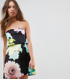 Платье-трапеция мини с ярким цветочным принтом ASOS PETITE - Мульти