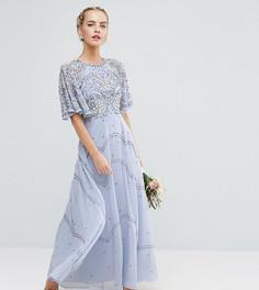Платье макси с рукавами клеш и цветочной отделкой ASOS PETITE Wedding - Мульти