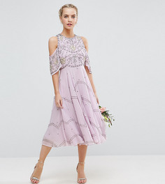 Платье миди с открытыми плечами и цветочной отделкой ASOS PETITE - Мульти