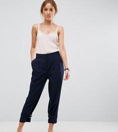 Зауженные брюки с ремешками и D-образными кольцами внизу ASOS PETITE - Темно-синий