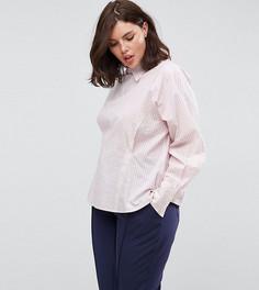Рубашка в полоску с корсетной отделкой на спине ASOS CURVE - Розовый