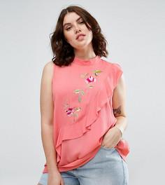 Топ без рукавов с асимметричными оборками и вышивкой ASOS CURVE - Розовый