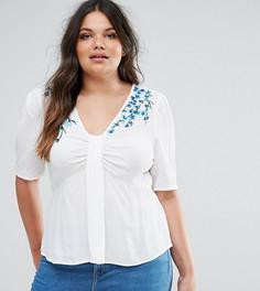 Блузка с вышивкой ASOS CURVE - Кремовый