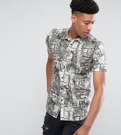 Рубашка классического кроя с винтажным принтом ASOS TALL - Белый