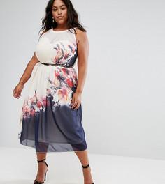 Платье миди с цветочным принтом Little Mistress Plus - Мульти