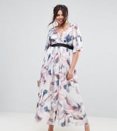 Платье макси с принтом и рукавами-кимоно Little Mistress Plus - Мульти