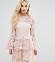 Кружевное платье мини с рукавами клеш John Zack Petite - Розовый