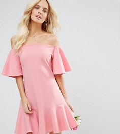 Платье мини с расклешенными рукавами John Zack Petite - Розовый