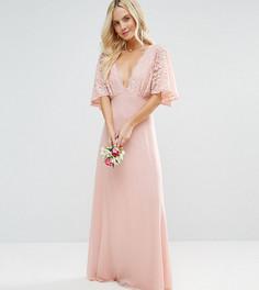 Платье макси с открытой спиной и кружевными рукавами клеш John Zack Petite - Розовый
