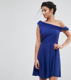 Платье мини на одно плечо John Zack Petite - Синий