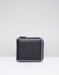 Большой кожаный кошелек на молнии с контрастной строчкой ASOS - Черный