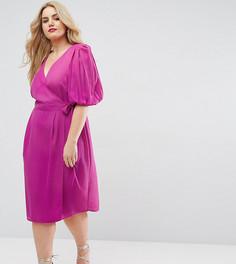 Чайное платье с запахом и пышными рукавами ASOS CURVE - Розовый