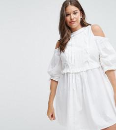 Хлопковое платье-рубашка со шнуровкой ASOS CURVE - Белый