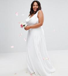 Платье макси с легкой драпировкой ASOS CURVE BRIDAL - Белый