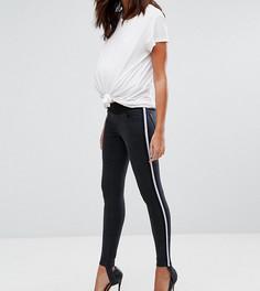 Черные джинсы скинни с полоской по бокам в спортивном стиле ASOS MATERNITY RIDLEY - Черный