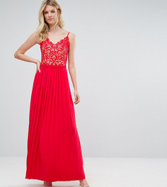 Платье макси с кружевным верхом и плиссировкой Little Mistress Tall - Красный