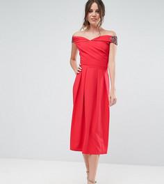 Платье миди с запахом и открытыми плечами Little Mistress Tall - Красный