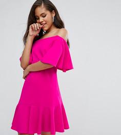 Платье мини с открытыми плечами John Zack Tall - Розовый