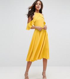 Платье миди с открытыми плечами и оборками John Zack Tall - Желтый