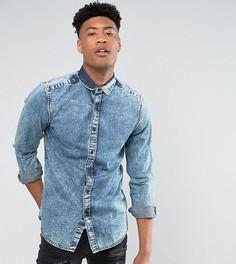 Рубашка классического кроя с эффектом кислотной стирки ASOS TALL - Синий