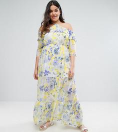 Платье макси с цветочным принтом и открытыми плечами Boohoo Plus - Мульти