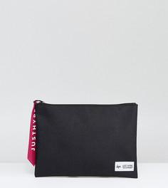 Эксклюзивный черный клатч с розовым ярлыком Hype - Черный