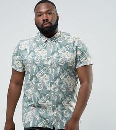 Рубашка классического кроя с винтажным принтом ASOS PLUS - Зеленый