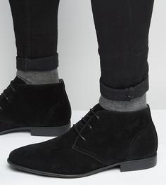 Черные ботинки чукка для широкой стопы из искусственной замши со шнуровкой ASOS - Черный