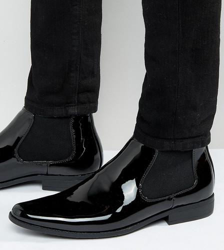 Черные лакированные ботинки челси для широкой стопы ASOS - Черный