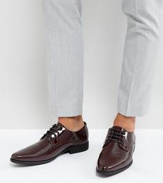 Бордовые лакированные туфли дерби для широкой стопы со вставками ASOS - Красный