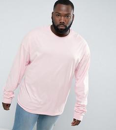 Розовый лонгслив свободного кроя с супердлинными рукавами ASOS PLUS - Розовый