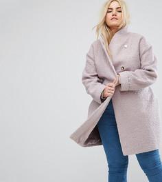 Фактурное пальто-накидка ASOS CURVE - Розовый