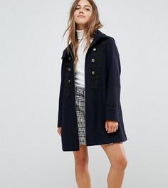 Пальто в стиле милитари с плетеной отделкой ASOS PETITE - Темно-синий