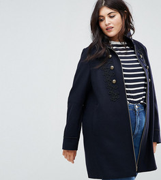 Пальто в стиле милитари с плетеной отделкой ASOS CURVE - Темно-синий