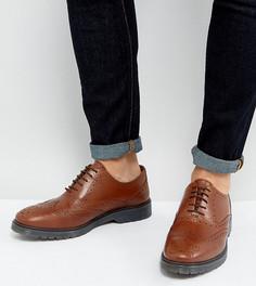 Светло-коричневые кожаные броги для широкой стопы с рифленой подошвой ASOS - Рыжий